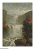 American:Hudson River School, JEROME THOMPSON (American 1814-1886). CatskillCascades,1885. Oil on board. 14in.x 10in.. Signed lower right.This paint...