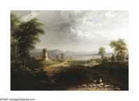 THOMAS DOUGHTY (American 1793-1856) Landscape with Windmill Oil on canvas 40in. x 54in. Signed lower right