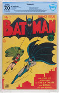 Golden Age (1938-1955):Superhero, Batman #1 (DC, 1940) CBCS Apparent FN/VF 7.0 (ModerateProfessional) Off-white to white pages....