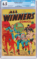Golden Age (1938-1955):Superhero, All Winners Comics #1 (Timely, 1941) CGC FN+ 6.5 Cream to off-white pages....