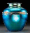 Art Glass:Steuben, Steuben Blue Aurene Glass Vase. Circa 1915. Ht. 8 in.. ...