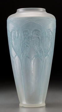 R. Lalique Frosted Glass Inséparables Vase with Blue Patina Circa 1919. Molded R