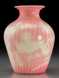 Art Glass:Steuben, Steuben Pink Striated Glass Vase with Engraved Dragon Motif. Circa1920. Ht. 8-1/8 in. . ...