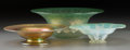 Art Glass:Tiffany , Three Tiffany Studios Favrile Glass Bowls. Largest anexperimental example. Circa 1893-1910. Various engravings.. Ht.3-... (Total: 3 Items)