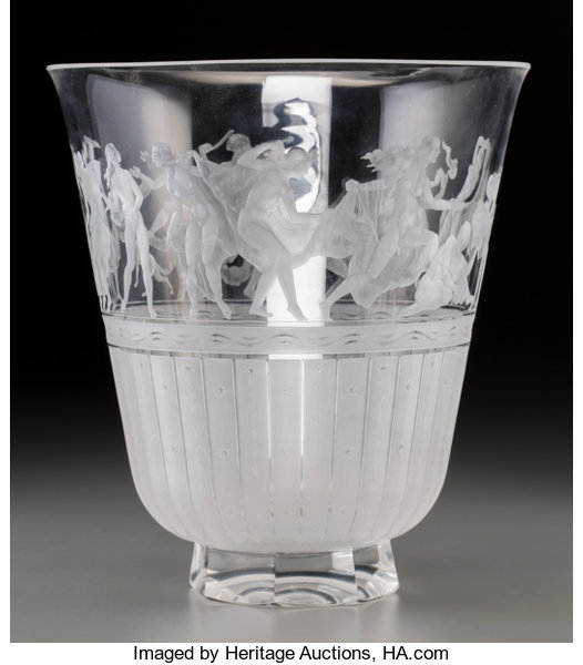 Orrefors Clear And Frosted Intaglio Glass Vase Designed By Lot