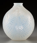 Art Glass, R. Lalique Opalescent Glass Espalion Vase. Circa 1927.Molded R. LALIQUE. M p. 438, No. 996. Ht. 7 in.. ...