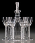 Art Glass:Lalique, Six R. Lalique Clear and Frosted Glass Phalsbourg LiquorStems and Decanter. Circa 1924. Engraved Lalique, Fra... (Total:7 Items)