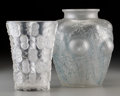 Glass, Two R. Lalique Clear and Frosted Glass Deux a Deux and Domremy Vases. Circa 1926-1938. Stenciled R. ... (Total: 2 Items)