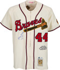 Baseball Collectibles:Uniforms, 2002 Hank Aaron Signed Mitchell & Ness Jersey with Inscriptions. ...