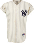 Baseball Collectibles:Uniforms, 1963 Mickey Mantle Game Worn New York Yankees Jersey, MEARS A9....