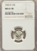 1925-D 10C MS61 Full Bands NGC. NGC Census: (3/138). PCGS Population: (2/290). Mintage 5,117,000. ...(PCGS# 4951)
