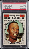 Baseball Cards:Singles (1960-1969), 1961 Topps Hank Aaron All Star #577 PSA NM-MT 8. ...