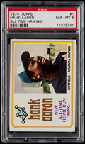 Baseball Cards:Singles (1970-Now), 1974 Topps Hank Aaron Home Run King #1 PSA NM-MT 8. ...