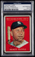Autographs:Sports Cards, Signed 1961 Topps Mickey Mantle MVP #475 - PSA/DNA Authentic. ...