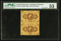 Fractional Currency:First Issue, Fr. 1230 5¢ First Issue Uncut Vertical Pair PMG About Uncirculated 53.. ...