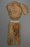 American Indian Art:War Shirts/Garments, A Plains Fringed Hide Shirt and Trousers... (Total: 2 Items)