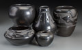 American Indian Art:Pottery, Five Santa Clara Blackware Jars... (Total: 5 Items)