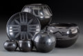 American Indian Art:Pottery, Six Southwest Blackware Pottery Items... (Total: 6 Items)