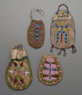 American Indian Art:Beadwork and Quillwork, Four Sioux Beaded Hide Pouches ... (Total: 4 Items)