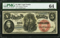 Large Size:Legal Tender Notes, Fr. 73 $5 1880 Legal Tender PMG Choice Uncirculated 64.. ...