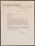Boxing Collectibles:Autographs, 1966 Jack Dempsey Signed Typewritten Letter. ...
