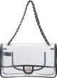 """Chanel Clear Vinyl & Black Lambskin Leather Flap Bag Condition: SF2  11"""" Width x 6.5"""" Height"""