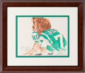 Football Collectibles:Others, 1972 Rich Carter & Eddie Bell New York Jets Original Sketch by LeRoy Neiman....
