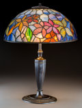 Art Glass:Tiffany , Tiffany Studios Favrile Glass and Bronze Woodbine TableLamp. Circa 1910. Shade stamped TIFFANY STUDIOS, NEW YOR...
