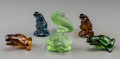 Art Glass:Lalique, Six Lalique Colored Glass Animal Figures. Post-1945. EngravedLalique, France. Ht. 2-1/8 in. (tallest, frog). ... (Total:6 Items)