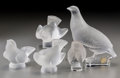 Glass, Five Lalique Frosted Glass Birds. Post-1945. Engraved Lalique, France. Ht. 7 in. (tallest, grouse). ... (Total: 5 Items)