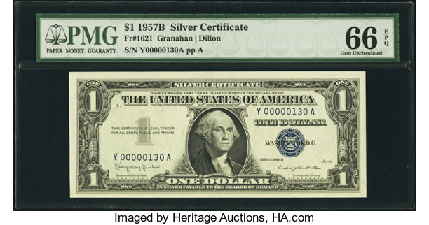 Low Serial Number Fr. 1621 $1 1957B Silver Certificate. PMG | Lot ...