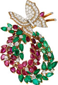 Estate Jewelry:Brooches - Pins, Diamond, Ruby, Emerald, Platinum, Gold Clip-Brooch, Marchak,French. ...
