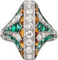 Estate Jewelry:Rings, Diamond, Multi-Stone, Platinum, White Gold Ring . ...
