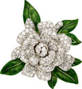 Estate Jewelry:Brooches - Pins, Diamond, Enamel, Platinum Brooch, Oscar Heyman Bros.. ...