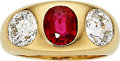 Estate Jewelry:Rings, Ruby, Diamond Gold Ring The ring centers an ov...