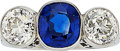 Estate Jewelry:Rings, Sapphire, Diamond, Platinum Ring . ...