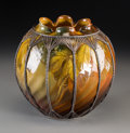 Ceramics & Porcelain, American:Antique  (Pre 1900), Rookwood Standard Glazed Berry Vase with Silver Overlay. Circa 1892. Impressed RP (addorsed with 6 flames), 6, ...
