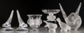 Art Glass:Lalique, Seven Lalique Clear and Frosted Glass Bird Motif Items. Post-1945. Engraved Lalique, France. Ht. 8-1/4 in. (Sylvie vase)... (Total: 7 Items)