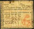 Colonial Notes:Georgia, Low Serial Number 6 Georgia June 8, 1777 $4 Orange Seal Stag Fine.....