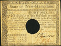 Colonial Notes:New Hampshire, New Hampshire April 29, 1780 $8 Hole Cancel Very Fine.. ...