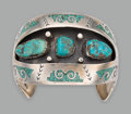 American Indian Art:Jewelry and Silverwork, A Large Navajo Bracelet...