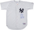 Baseball Collectibles:Uniforms, Circa 1996 Derek Jeter Signed New York Yankees Stat Jersey with Four Inscriptions. ...
