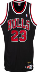 "Basketball Collectibles:Uniforms, 1999 Michael Jordan Signed Chicago Bulls UDA ""Retirement"" Jersey...."