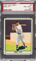 Baseball Cards:Singles (1940-1949), 1941 Play Ball Mel Ott #8 PSA NM-MT+ 8.5....