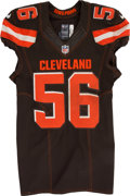 Football Collectibles:Uniforms, 2015 Karlos Dansby Game Worn, Unwashed Cleveland Browns Jersey....