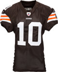 Football Collectibles:Uniforms, 2008 Brady Quinn Game Worn, Unwashed Cleveland Browns Jersey and Pants - Used 11/6 vs. Broncos....