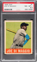 Baseball Cards:Singles (1940-1949), 1948 Leaf Joe DiMaggio #1 PSA NM-MT+ 8.5 - Pop One, One Higher! ...