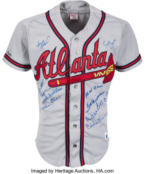 finest selection 1b0c5 3aa75 Circa 1990 500 Home Run Club Multi-Signed Atlanta Braves ...