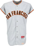 Baseball Collectibles:Uniforms, 1966 Willie Mays Game Worn San Francisco Giants Jersey, MEARSA10--Photo Matched....