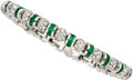 Estate Jewelry:Bracelets, Diamond, Emerald, Platinum Bracelet, Charles Krypell. ...
